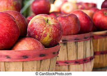 outono, maçãs, cestas