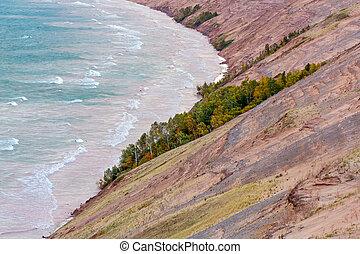 outono, manhã, em, grandioso, sable, dunas