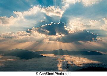 outono, manhã, vista montanha, com, raio sol, e, neblina, em, doi, pha, espiga, chiang rai