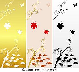 outono, maple, vetorial, leaves., fundo