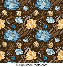 outono, marrom, vetorial, padrão floral