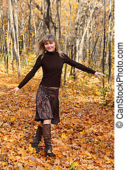 outono, menina, parque, feliz