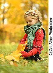outono, menina, parque