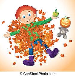 outono, menino, folhas