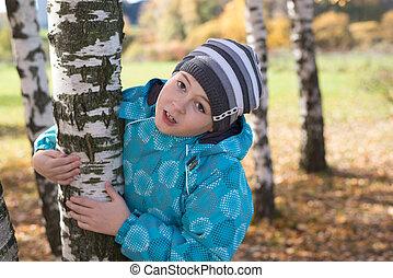 outono, menino, parque