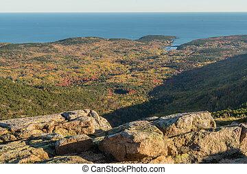 outono, montanha, negligenciar, floresta, cadillac