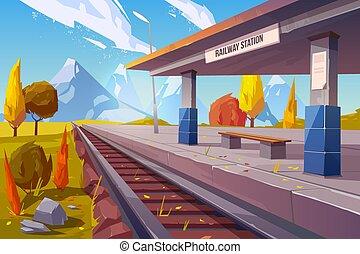 outono, montanhas, estação de comboios, paisagem