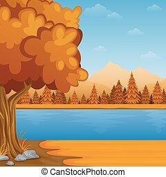 outono, montanhas, rio, caricatura, paisagem