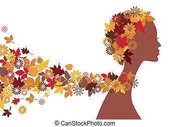 outono, mulher