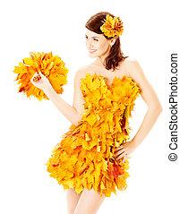 outono, mulher, em, moda, vestido, de, maple sai, sobre, branca