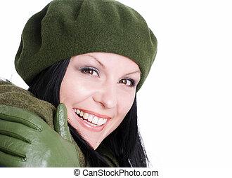 outono, mulher, morena, sorrindo, roupas