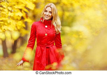 outono, mulher, parque