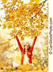 outono, mulher, parque, feliz