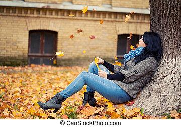 outono, mulher, parque, jovem, bonito