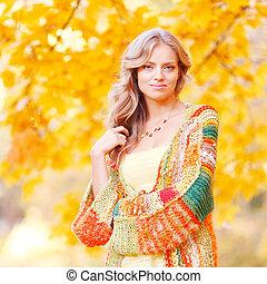 outono, mulher, parque, loura