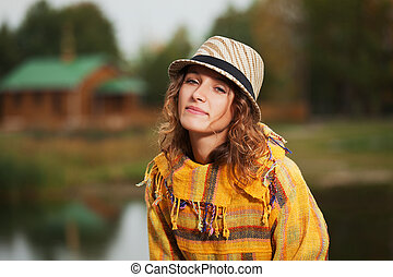 outono, mulher, parque, rastafarian, jovem