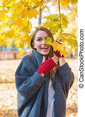 outono, mulher, parque, rir, vivaz