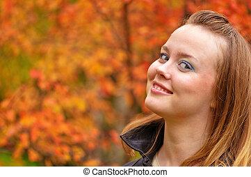 outono, mulheres, colorido, parque