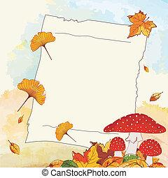outono, notepaper, folha, fundo, coloridos