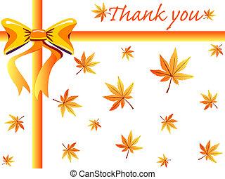 outono, obrigado cartão