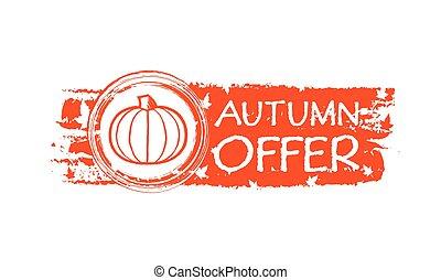 outono, oferta, bandeira, vec, abóbora