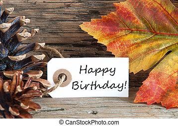 outono, ou, outono, fundo, com, feliz aniversário
