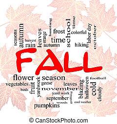 outono, ou, outono, palavra, nuvem, concep, ligado, folhas