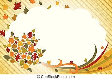 outono, outono, fundo, ilustração