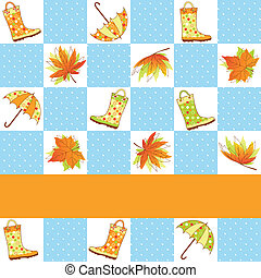 outono, padrão, coloridos, chuva, seamless