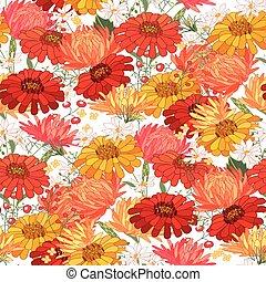 outono, padrão, flores, floral, seamless