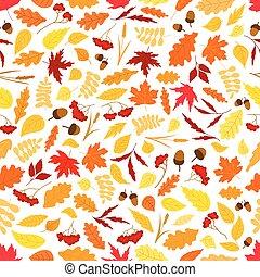 outono, padrão, folhas, bolotas, seamless