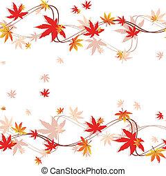outono, padrão, folhas, seamless, coloridos