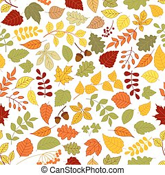 outono, padrão, folhas, seamless, fundo