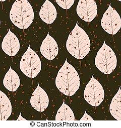 outono, padrão, folhas, seamless