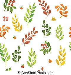 outono, padrão, folheia