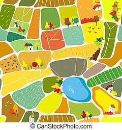 outono, padrão, paisagem, seamless, ilustração