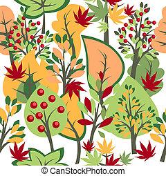 outono, padrão, seamless, árvores