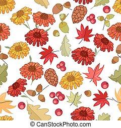 outono, padrão, seamless