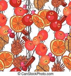 outono, padrão, stylized, seamless, frutas