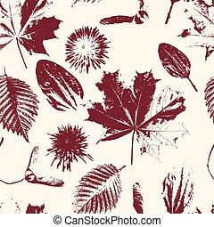 outono, padrão, vetorial, seamless