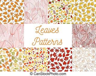 outono, padrões, folhas, bolotas, seamless