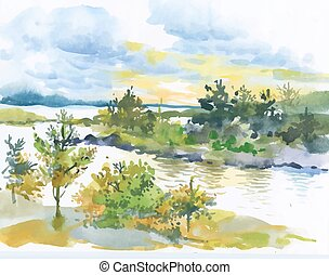 outono, paisagem., aquarela, floresta lago