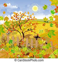 outono, paisagem rural