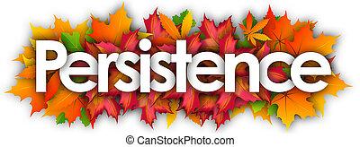 outono, palavra, folhas, persistência, fundo