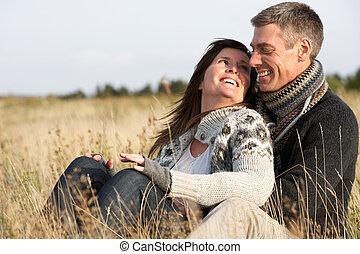 outono, par, romanticos, paisagem, jovem