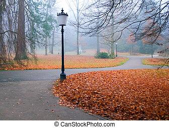 outono, parque, com, lanternas