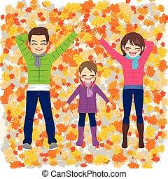 outono, parque, família