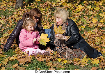 outono, parque, família, feliz