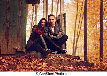 outono, parque, par, conceito, jovem
