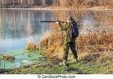 outono, pato, tarde, caça